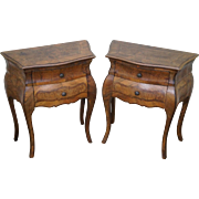 Vintage Pair of Italian Burl Walnut Bombe Commodes Chests