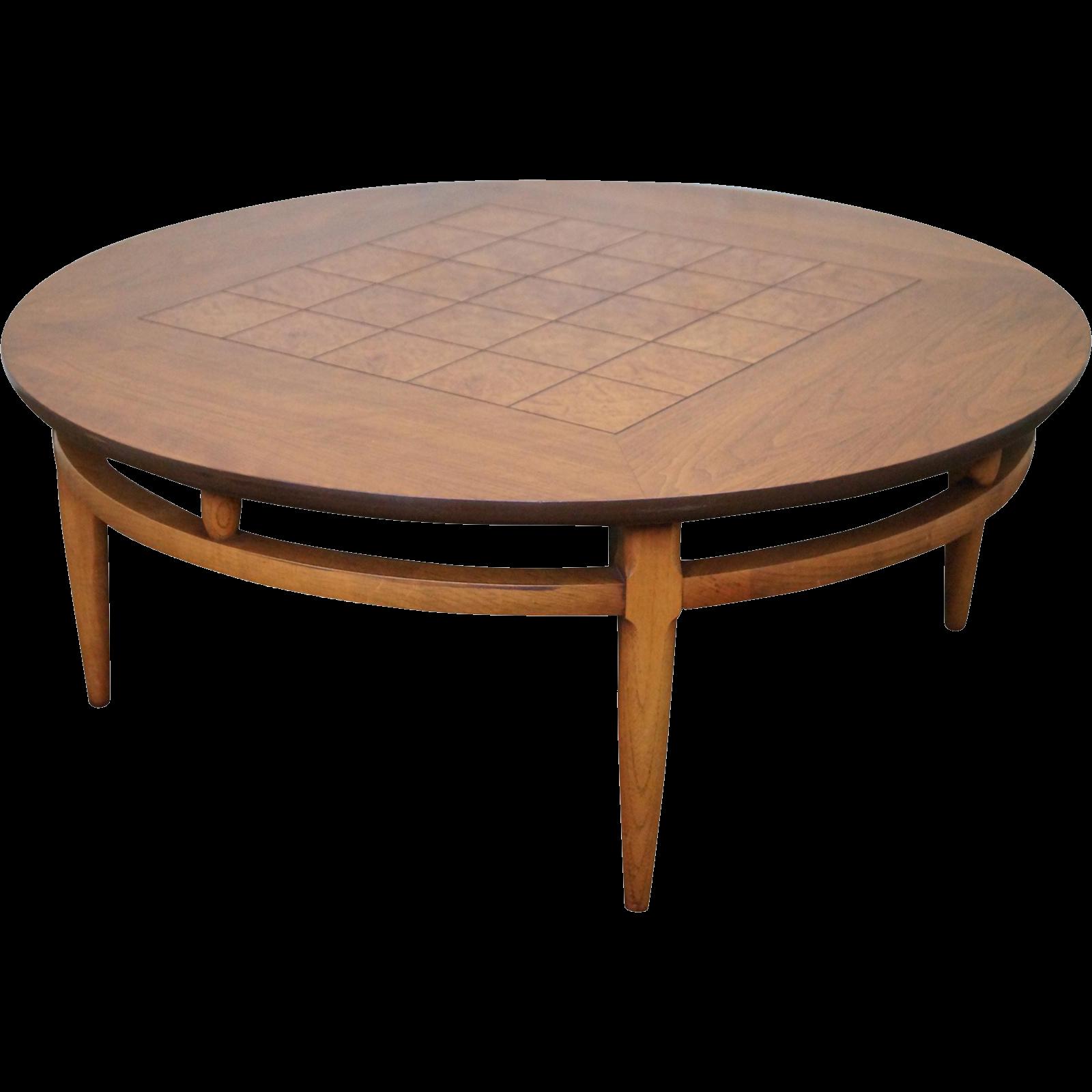 Lane Round Burl Walnut Mid Century Coffee Table From Bucks County