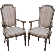 Quality Pair of Italian Silver Gilt Painted Arm Chairs