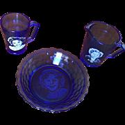 Vintage Hazel Atlas Cobalt Blue Shirley Temple 3 Piece Breakfast Set - Set 1