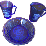 Vintage Hazel Atlas Cobalt Blue Shirley Temple 3 Piece Breakfast Set - Set 2