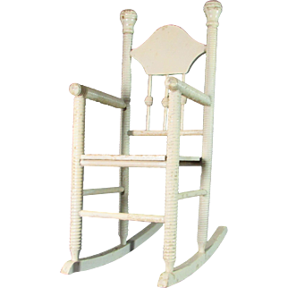 Antique Spool Turned Doll Rocker - Ball and Stick Back