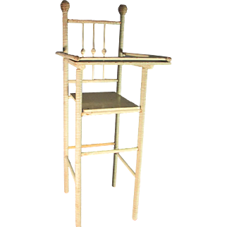 Antique Spool Turned Doll High Chair - Ball and Stick Back