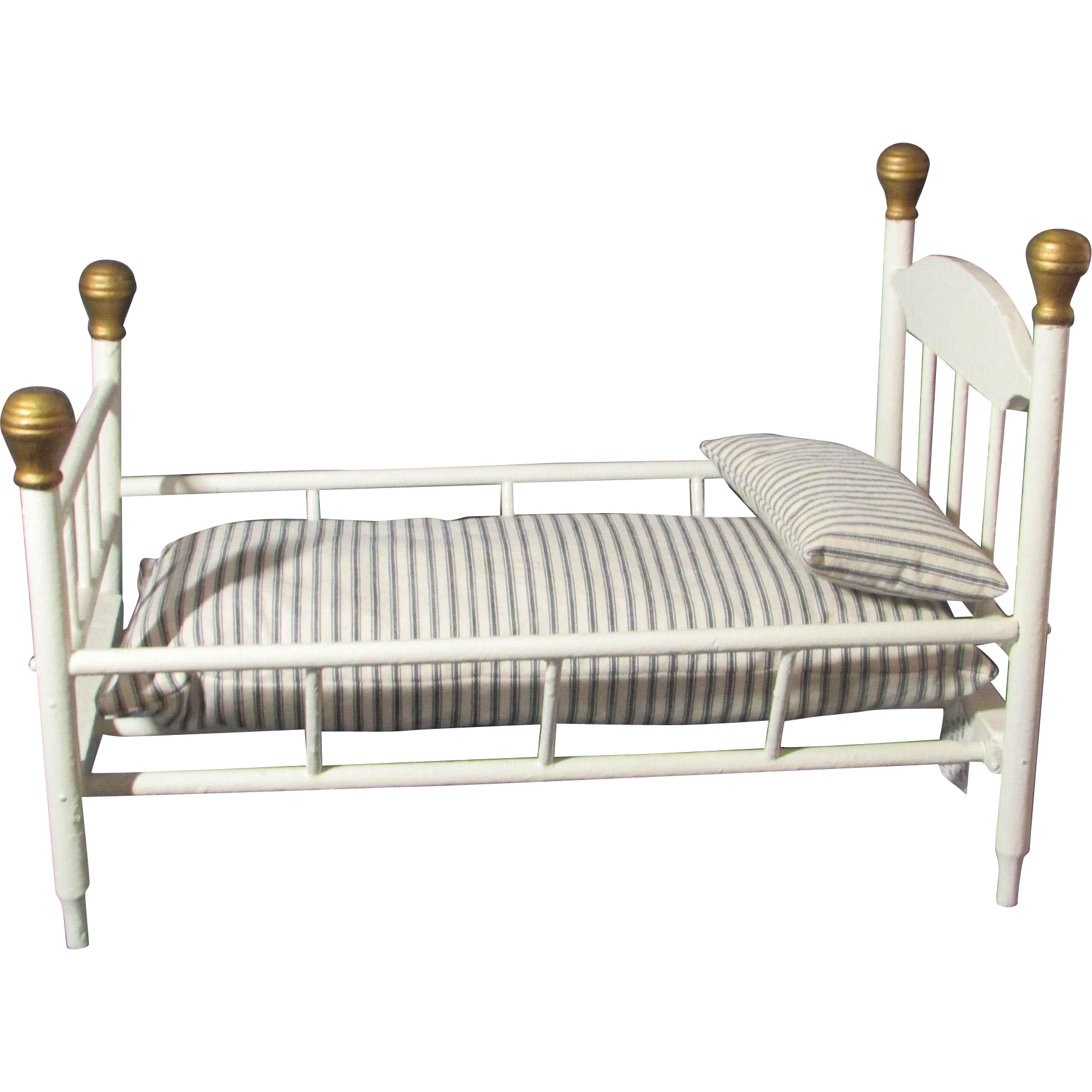 Antique Wooden Painted Doll Bed With Mattress And Pillow From Laurel . Full resolution  portrait, nominally Width 1792 Height 1792 pixels, portrait with #90713B.
