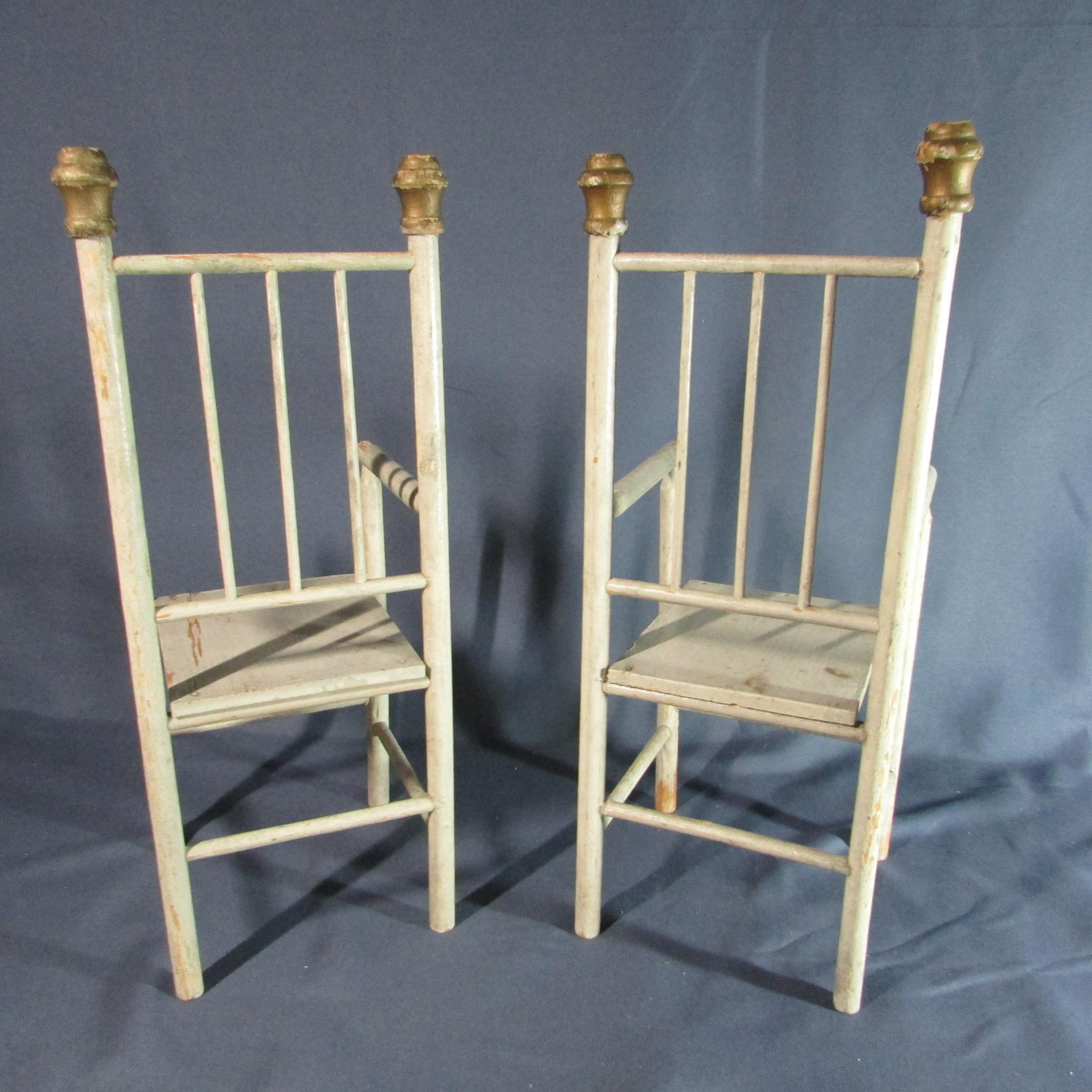 Two Wonderful Matching Antique Wooden Doll Arm Chairs From Laurel Ks . Full resolution‎  photograph, nominally Width 2048 Height 2048 pixels, photograph with #8E7D3D.
