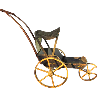 Wonderful 19th Century Joel Ellis Style Three Wheeled Doll Buggy / Carriage - SALE 1/3 OFF