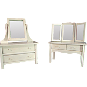 Matching Vintage Painted Wooden Doll Dresser and Vanity