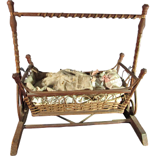 Fabulous Antique Doll Wicker Swing Cradle With Original Bedding
