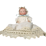 "Adorable All Bisque 6"" Bye Lo Baby Painted Eyes One Piece Head And Torso"
