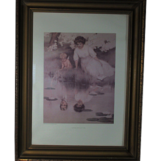"""Cupid's Reflection"" By Bessie Pease Gutmann 602 Copyright 1909 by Gutmann & Gutmann NY Framed 21.5"" X 16.5"""