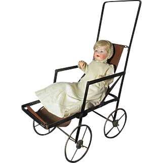 Fabulous Antique Folding Doll Stroller / Pram / Buggy Original