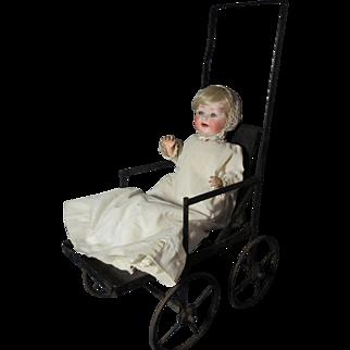 Wonderful Small Antique Folding Doll Stroller / Buggy / Pram  French ?