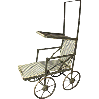 Nice Antique Folding Doll Stroller / Buggy / Pram With Sun Hood