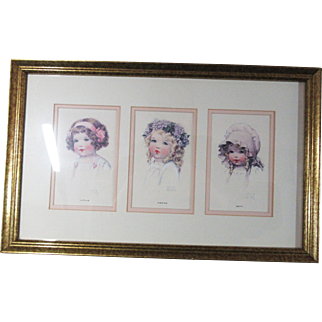 Three Bessie Pease Gutmann Postcards in New Frame - Double Matted