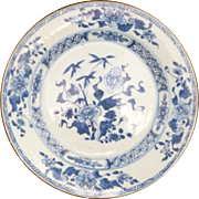 Chinese 18th c Kangxi Export Blue and White Plate,Peony and Bamboo