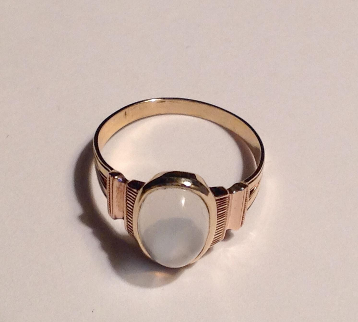 antique 14k yellow gold victorian moonstone ring from