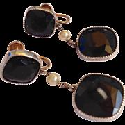 Vintage Art Deco 10k & Sterling drop earrings