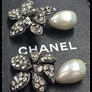 Vintage signed Chanel Paris large faux pearl drop earrings - amazing!