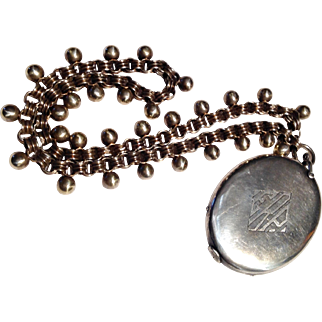 Antique Victorian large Sterling locket and chain - incredible