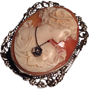 Vintage 14k white gold carved shell cameo with necklace pin or pendant - gorgeous