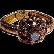 Antique Austro Hungarian gold over silver moonstone bracelet
