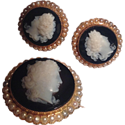 Antique 14k hardstone pin & matching earrings - perfect and gorgeous