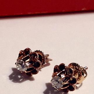 Antique old cut diamond 14k buttercup earrings - vs & white
