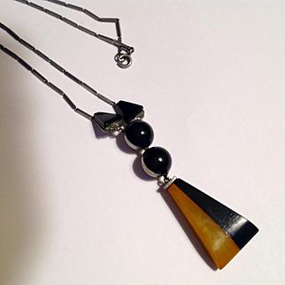 Vintage Jakob Bengel Bakelite chrome amazing necklace