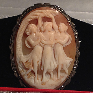 Vintage 1920's 800 silver 3 graces cameo pin or pendant