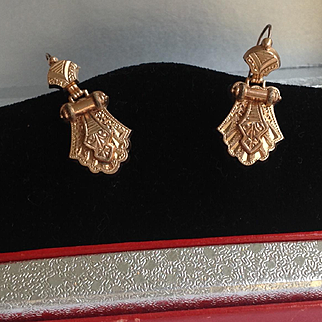 Antique Victorian gold filled hinged earrings