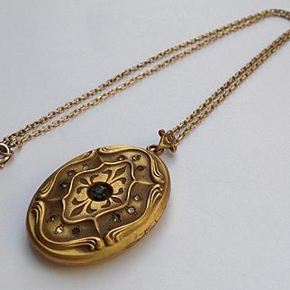 Gold filled Victorian/art nouveau large oval Matt finish locket