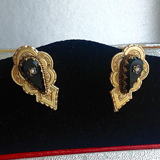 Antique Victorian gold filled black onyx earrings