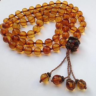 "Vintage Bakelite Amber long beads necklace 11.6mm - 38"""