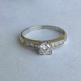 Vintage platinum 1930's round brilliant cut diamond ring - g-h color vs1