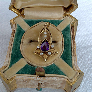 Antique Victorian 14k amethyst seed pearl lavelier