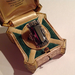 Vintage 1920's Sterling hematite marcasite ring