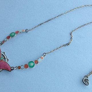 Vintage Art Deco Sterling enamel butterfly bubbles necklace