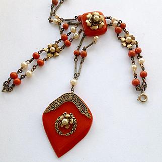 Jakob Bengel machine age orange Bakelite necklace and bracelet