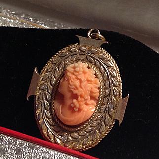 Incredible Victorian 14k coral and diamond locket
