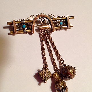 Antique Etruscan gold filled pin with fobs