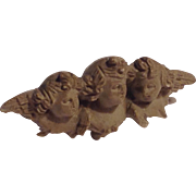 Antique Victorian 3 cherubs lava pin