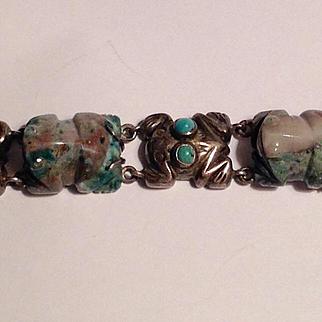 1940's rare signed William spratling Jade frog Sterling bracelet