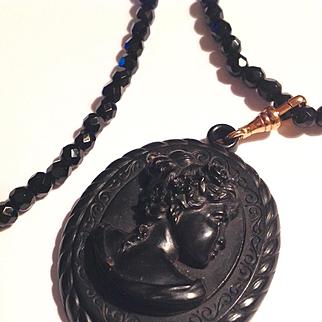 Antique Victorian large jet cameo necklace
