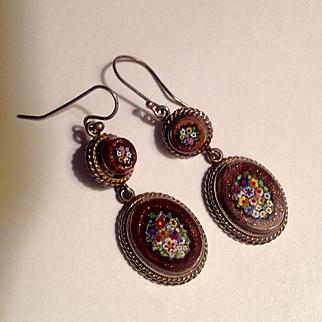 Antique micro mosaic long dangle earrings