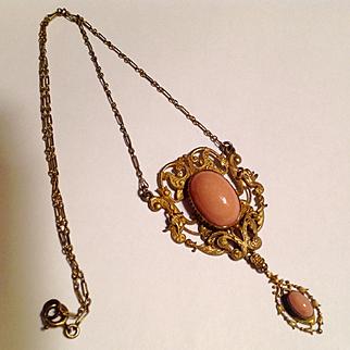 Antique art nouveau gold filled Czech glass necklace