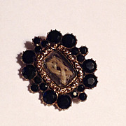 Antique Georgian small gold mourning pin