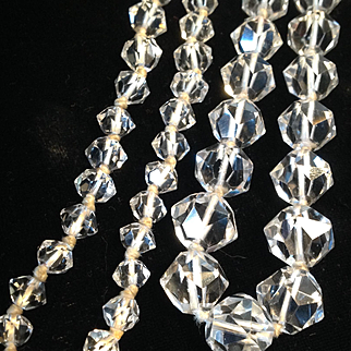 Vintage 1920's Art Deco guaranteed faceted rock crystal long necklace - gorgeous!