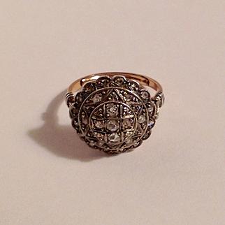 Antique 14k pave rose cut diamond ring