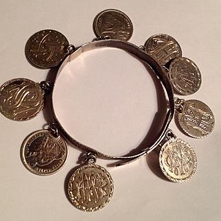Antique Victorian American coin love token Sterling bracelet
