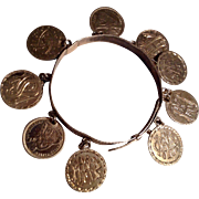 Antique Victorian American coin love token Sterling bracelet